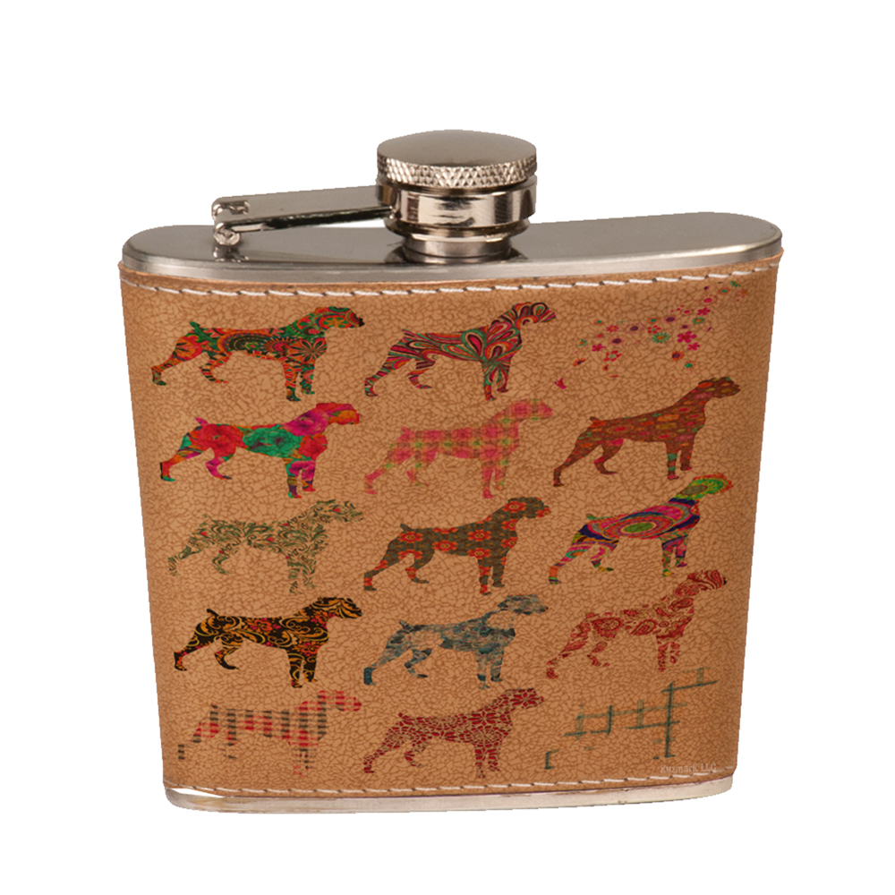 KuzmarK 6 oz. Leather Pocket Hip Liquor Flask - Boxer Dog
