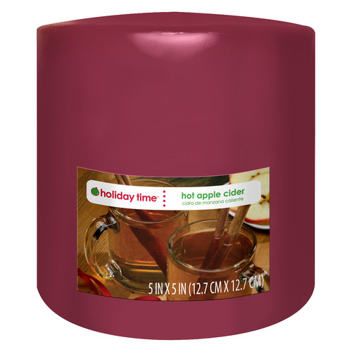 Holiday Time Pillar Candle, Hot Apple Cider