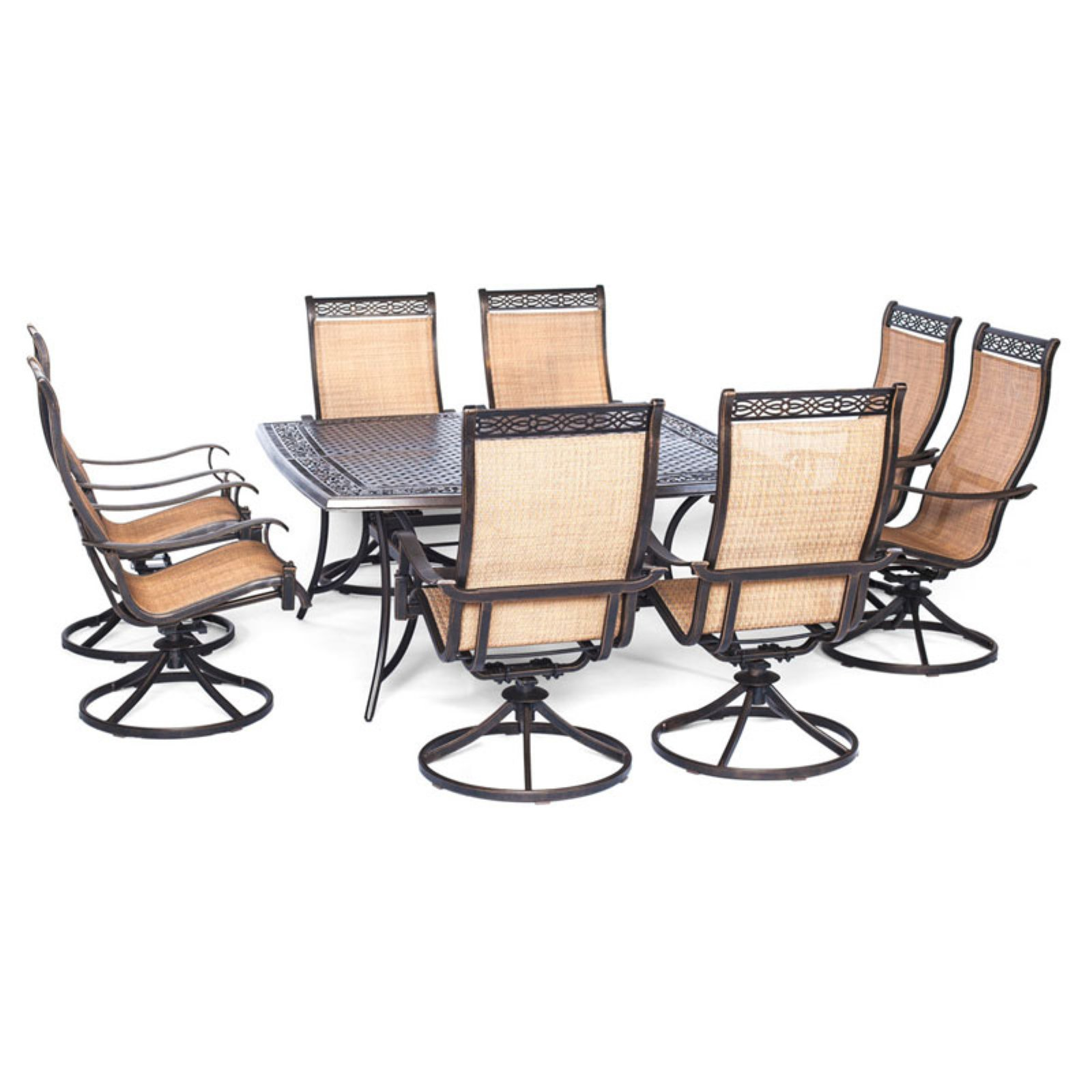 Outdoor Manor 9-Piece Outdoor Dining Set with Large Square Table and 8 Swivel Rockers, Cedar/Bronze