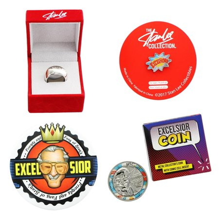 Enamel Coin Set (Stan Lee Excelsior 4 Piece Set with Coin, Button Pin, Enamel Pin, &)