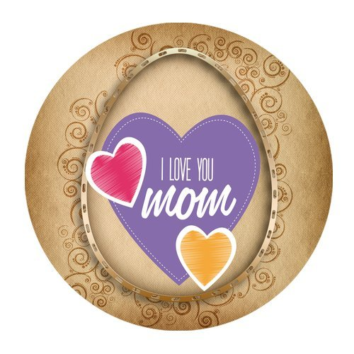 MKHERT Happy Mother's Day I Love You Mom Round Mousepad Mat For Mouse Mice Size 7.87x7.87 inches