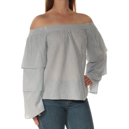 LA CADEMIE Womens White Pinstripe Bell Sleeve Off Shoulder Top  Size: M
