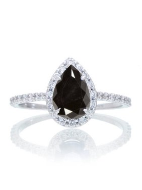 Halo 1.25 Carat Classic Pear Cut Black Diamond With Diamond Celebrity Engagement Ring in 14k White Gold