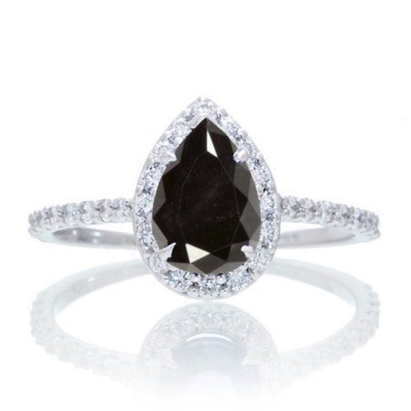 Halo 1.25 Carat Classic Pear Cut Black Diamond With Diamond Celebrity Engagement Ring in 10k White Gold