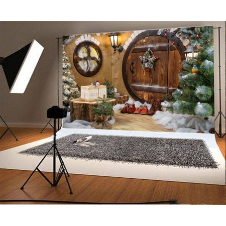 Christmas Scene Backdrop (HelloDecor Polyster 7x5ft Photography Backdrop Doors Hobbit Gnome House with Christmas Decorations and Shoes Scene Photo Background Children Baby Adults Portraits)
