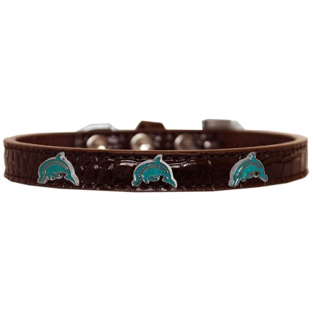 Dolphin Widget Croc Dog Collar Chocolate Size 14