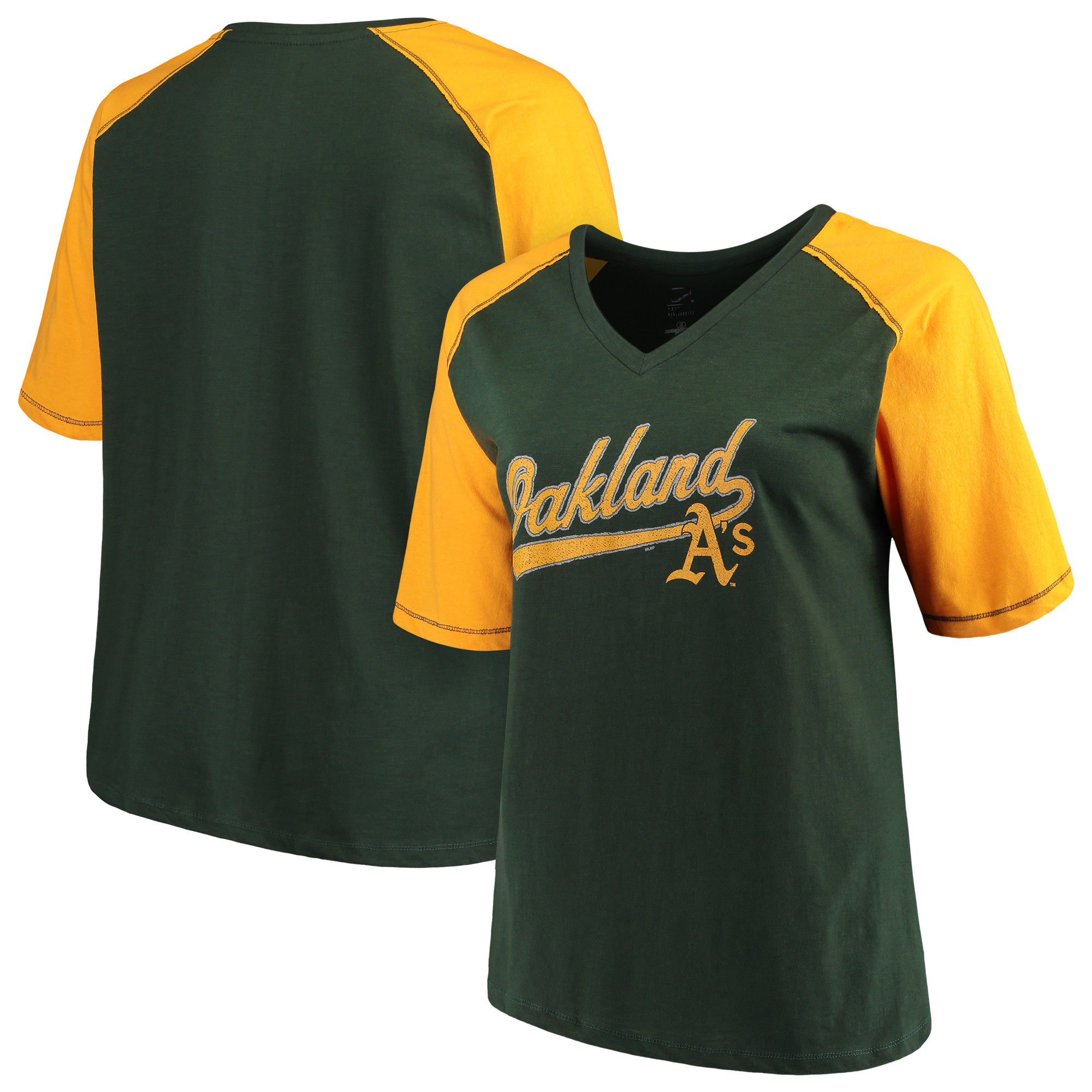 Women's Majestic Green/Gold Oakland Athletics Plus Size High Percentage Raglan V-Neck T-Shirt