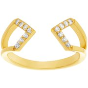 CZ 18kt Gold over Sterling Silver Open Geo Ring