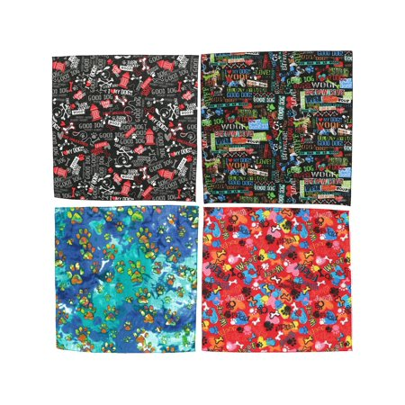 Size one size Furry Friend Print Bandanas (Pack of 4), (Color Print Pack)