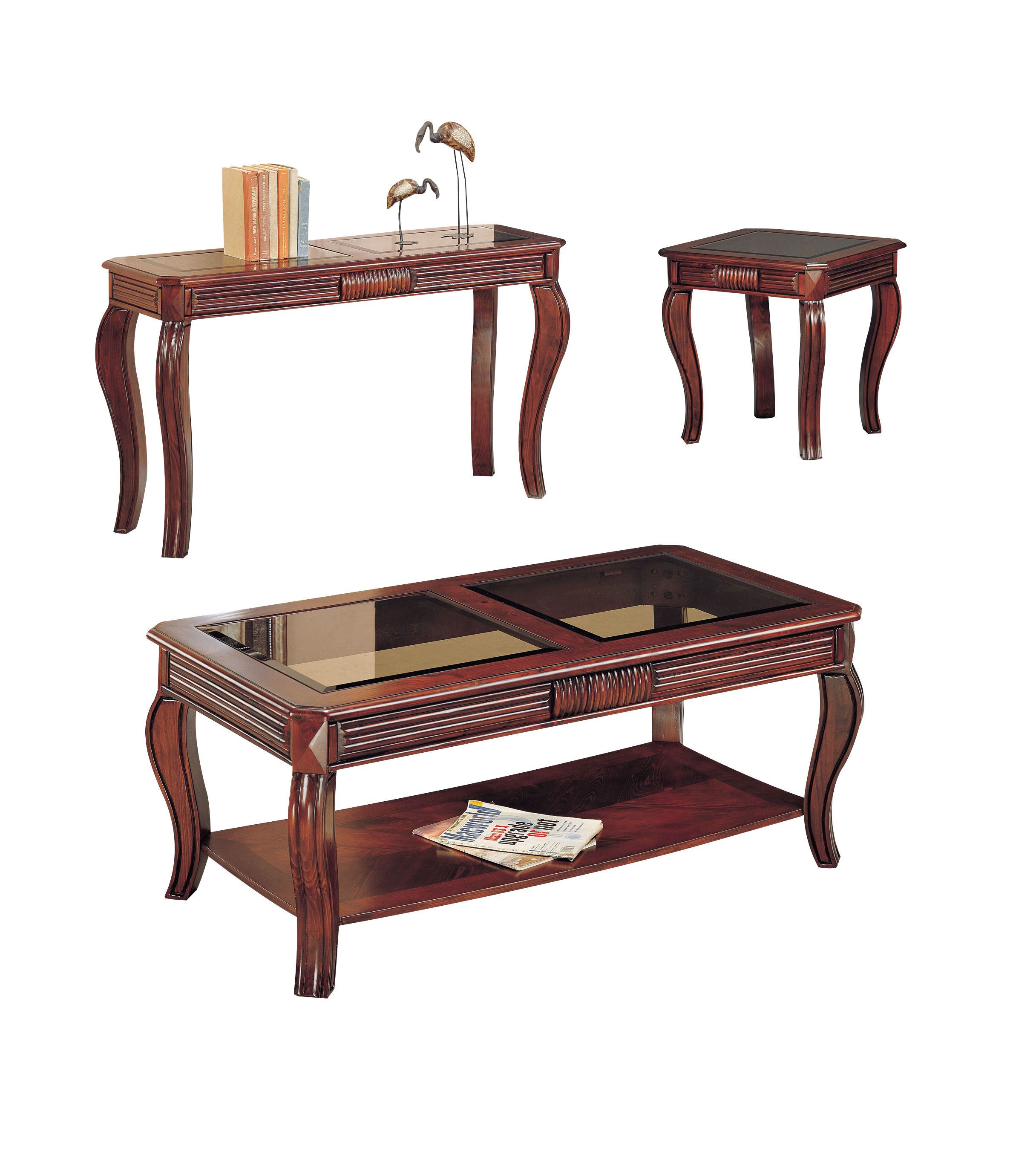 Acme Overture 3 Piece Pack Coffee End Table Set Cherry