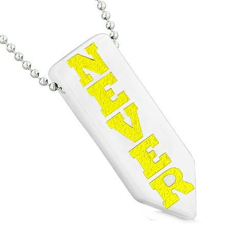 Never Give Up Reversible Amulet Yin Yang Balance Powers Arrowhead White Quartz Pendant 18 Inch Necklace