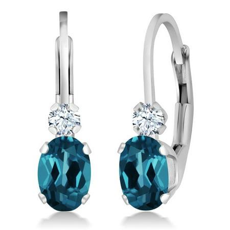 Blue Topaz Leverback Gem Earrings - 1.18 Ct Oval London Blue Topaz White Sapphire 925 Silver Leverback Earrings