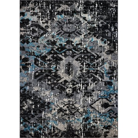 "Ladole Rugs Everest Collection Coronado Abstract Contemporary Style Smooth Area Rug Carpet for Dining Room, Bedroom, Living Room in Black-Blue, 5x8 (5'3"" x 7'6"", 160cm x 230cm)"