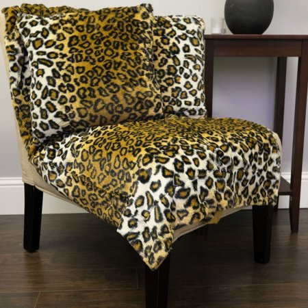 Faux Fur Throw And Pillow Set : Leopard Print 3 Piece Plush Faux Fur Decorative Pillow and Throw Set - Walmart.com