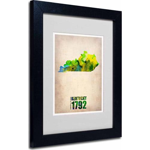 """Trademark Fine Art """"Kentucky Watercolor Map"""" Matted Framed Art by Naxart, Black Frame"""