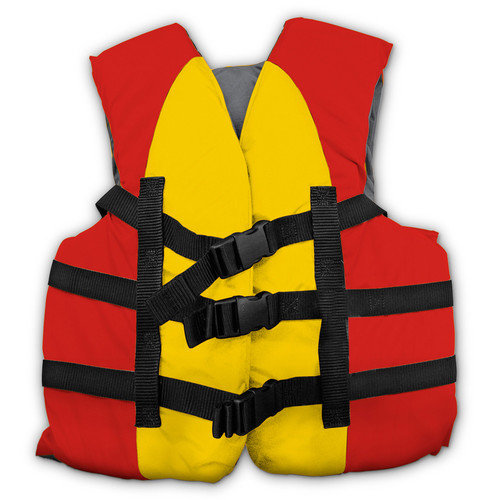 USCG Approved Water or Swimming Pool Red & Yellow Child Life Vest Up to 90lbs by Swim Central