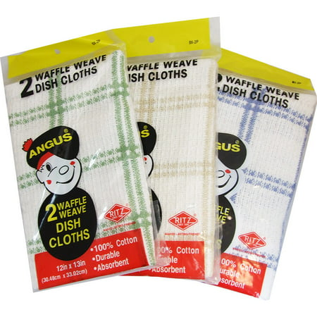 Angus Waffle Weave 2pk Dish Cloths assorted 12in x 13in