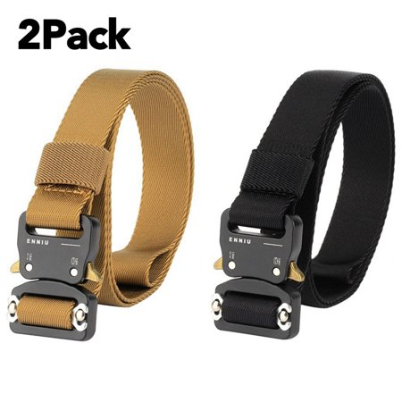 2 Pack 1.5 Inch Tactical Belt Outdoor Adjustable Military Heavy Duty Military Nylon Belt Strap with Riggers Quick Release Metal Buckle thumbnail
