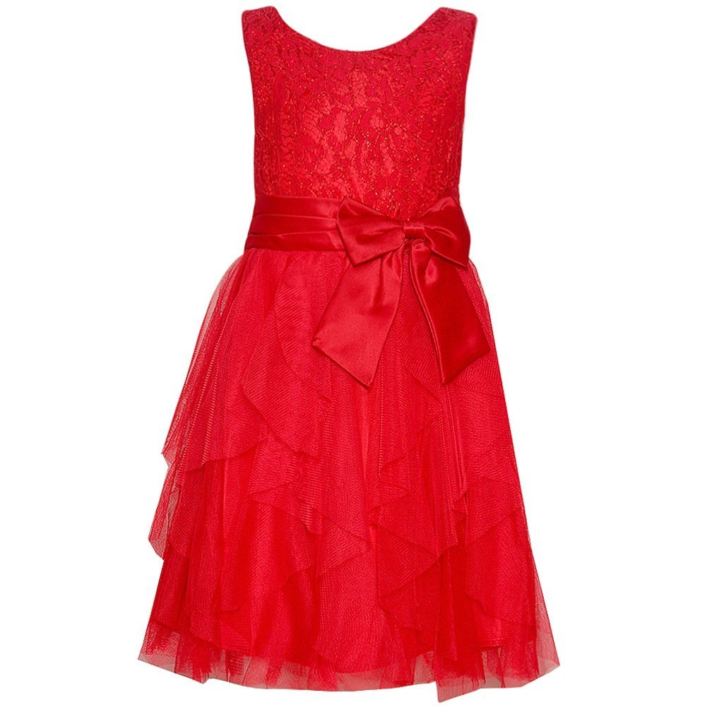 Rare Editions Girls Red Lace Ruffle Cascade Occasion Dress