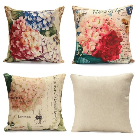 Meigar Vintage Flower/Vase Throw Pillow Cushion Cover 18''x18'' Cotton Standard Decorative Back Waist Pillowcase Pillowslip Pillow Protector Case for Sofa Couch Chair Car Seat Vintage Throw Pillows