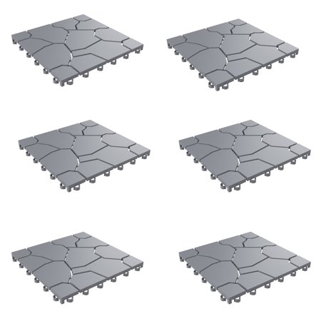 Patio and Deck Tiles– Interlocking Stone Look Outdoor Flooring Pavers Weather Resistant and Anti-Slip Square DIY Mat by Pure Garden (Grey Set of 6) (Over Garden Stone)