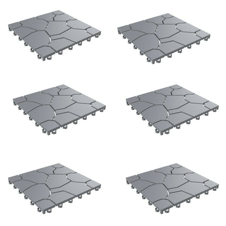 Patio and Deck Tiles– Interlocking Stone Look Outdoor Flooring Pavers Weather Resistant and Anti-Slip Square DIY Mat by Pure Garden (Grey Set of 6)