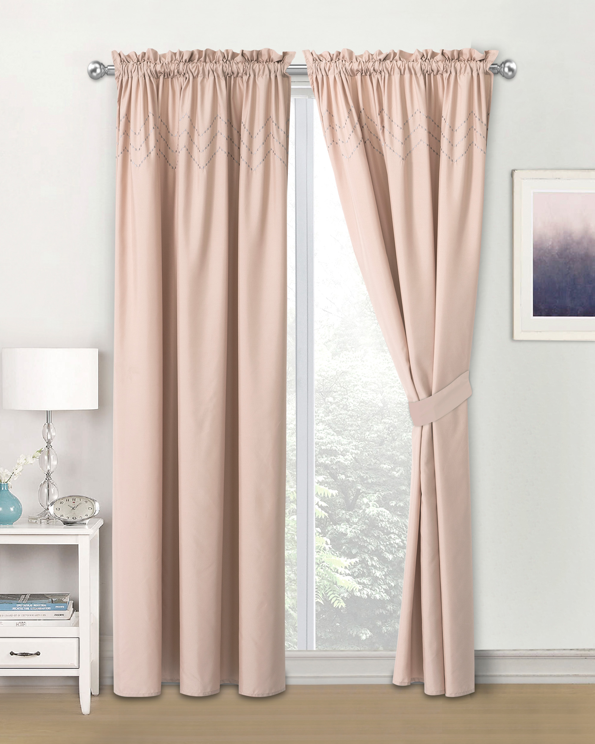 Hgmart Blackout Privacy Curtains Room Darkening Rod Pocket Embroidery Pleated Top And Tie Back Panels For Living Bedroom 58 X 84 Per Panel 2 Pcs Pink Walmart Com Walmart Com