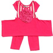 Little Girls Raspberry Flower Elsa Tunic Leggings Outfit Set 2-4T