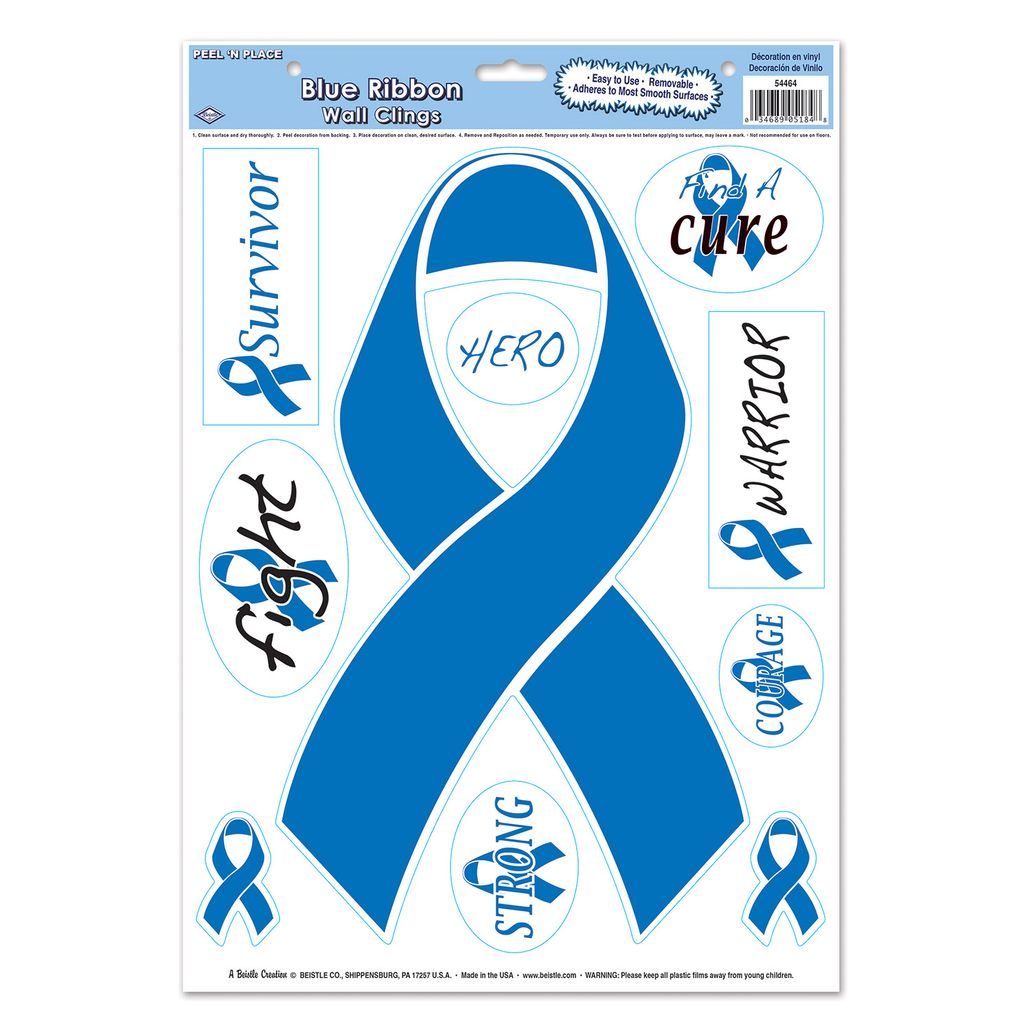 Blue Ribbon/Find A Cure Peel 'N Place (Pack of 12) - image 1 de 1