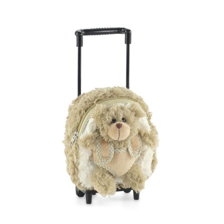 18-inch Doll Luggage | Doll Backpack with Trolley and Detachable Teddy Bear | Fits American Girl Dolls (America Teddy Bear)