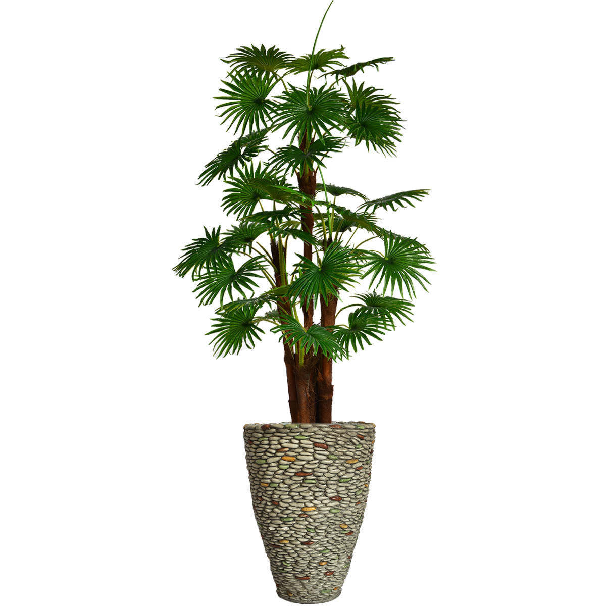 """79.5"""" Tall Fan Palm Tree Artificial Indoor/ Outdoor Décor Faux Burlap Kit and Fiberstone Planter By Minx NY"""
