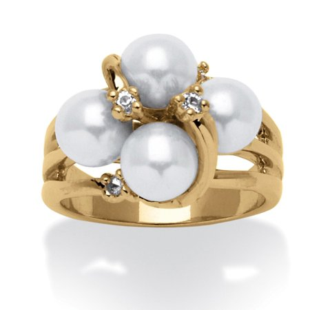 Round Simulated Pearl and Austrian Crystal Accent Ring in 14k Yellow - Austrian Crystal Band