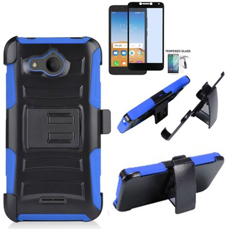 half off d7ee2 16224 for Alcatel Tetra Case / AT&T PREPAID Alcatel Tetra Tempered Glass Rugged  Cover Combo Holster Belt Clip (Hoslster Blue Edge Case/ Tempered Glass)