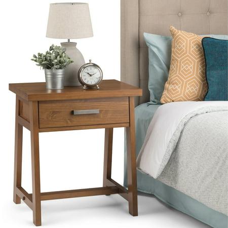 WyndenHall  Hawkins Solid Wood 24 inch Wide Modern Industrial Bedside Nightstand Table