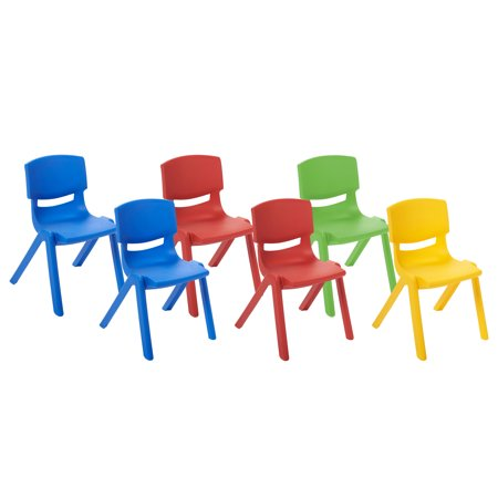 Day Care Chair - ECR4Kids 12in Resin Chair Pack 6-Piece - Assorted