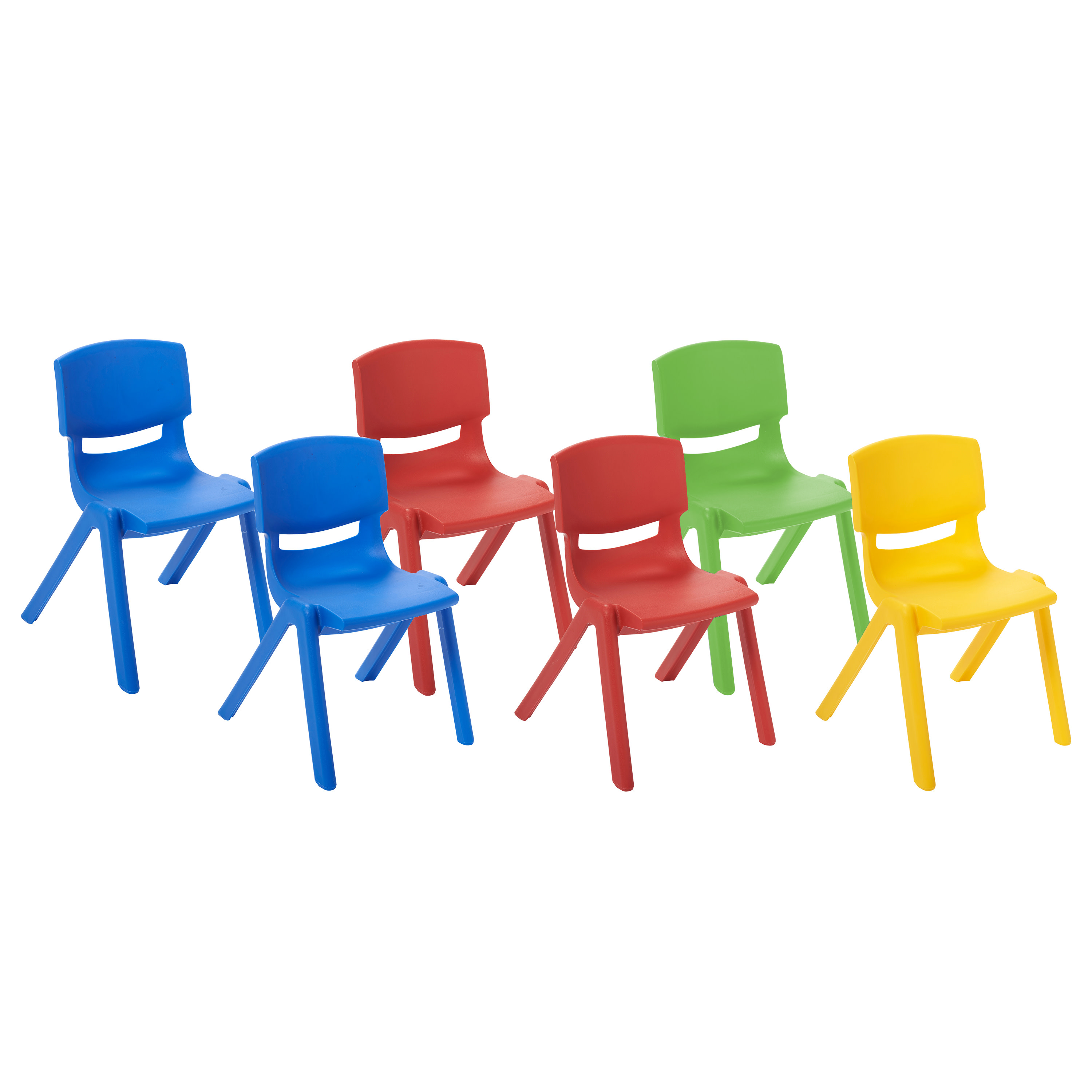 ECR4Kids 12in Resin Chair Pack 6-Piece - Assorted