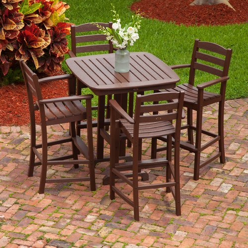 POLYWOOD La Casa Caf  5 Piece Bar Height Dining Set
