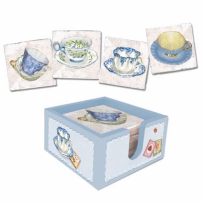 Lexington Studios 18010B-C Blue Tea Cups Coasters With Caddy by