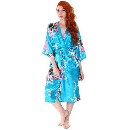Women\'s Cotton Short Floral Robe Bathrobe Bridesmaids Dressing Gown ...
