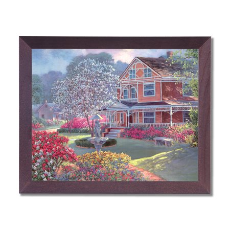 Victorian House Flowers Garden Contemporary Wall Picture Cherry Framed Art (House Of Troy Contemporary Picture Frame)