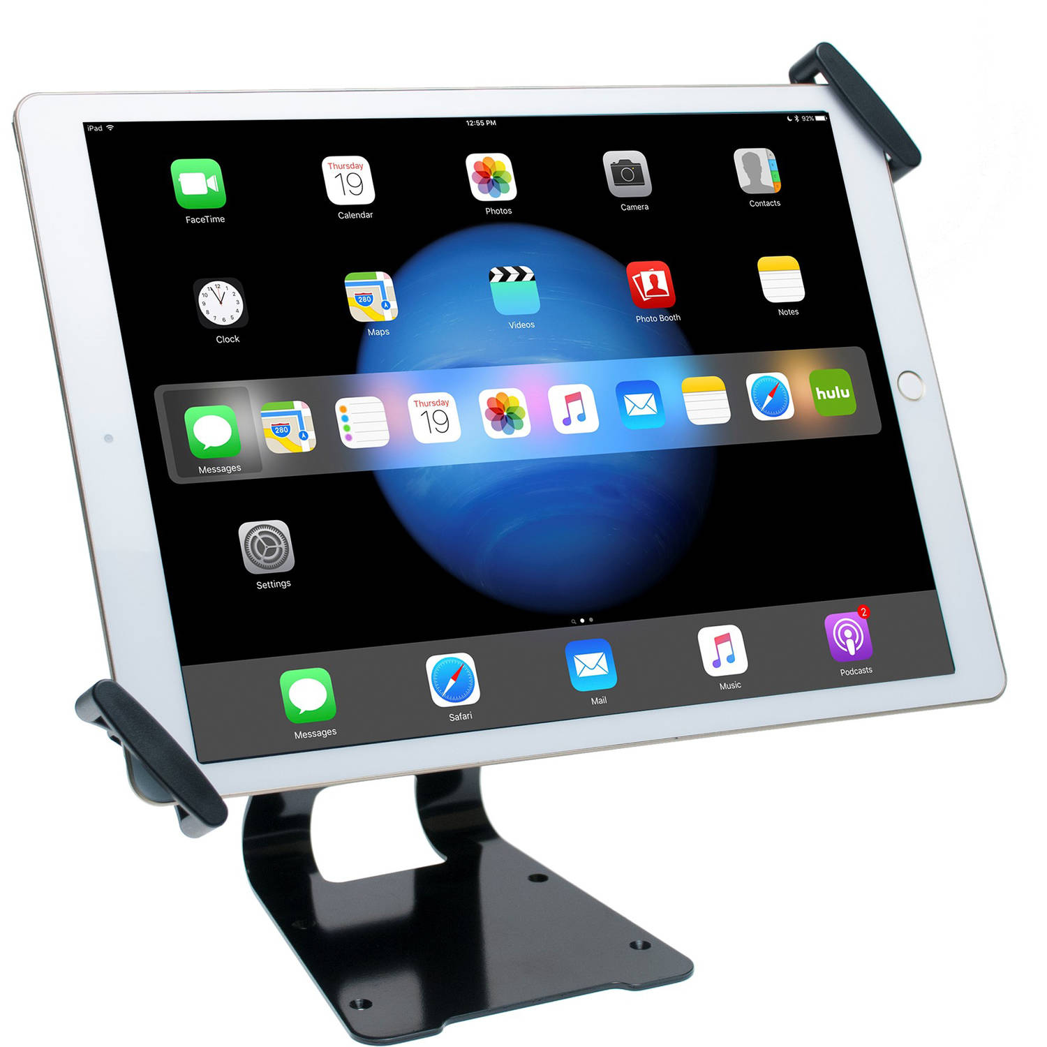 CTA Digital Adjustable Anti-Theft Security Grip and Stand for Large Tablets