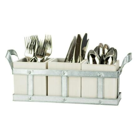 Boston Warehouse Fork, Knife & Spoon - Galvenized White Washed Wood Flatware Storage Caddy - Craft Store Boston