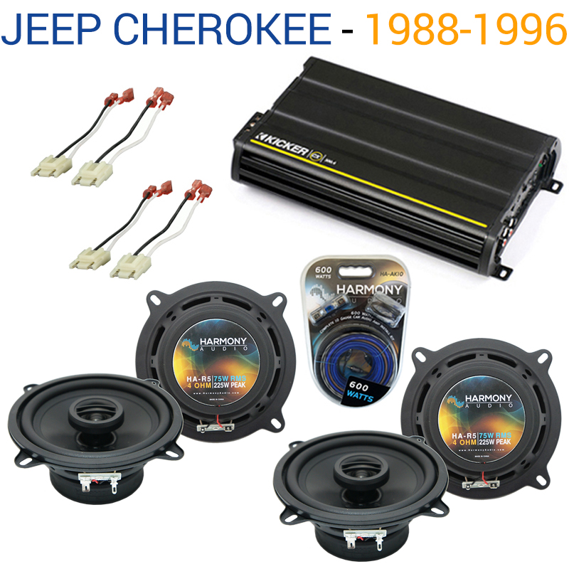 Jeep Cherokee 1988-1996 OEM Speaker Replacement Harmony (2) R5 & CX300.4 Amp Factory Certified Refurbished by Harmony Audio