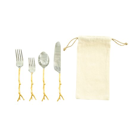 Stainless Steel Flatware Set with Gold Twig Shaped Aluminum Handle (Set of 5 Pieces in Drawstring Bag)