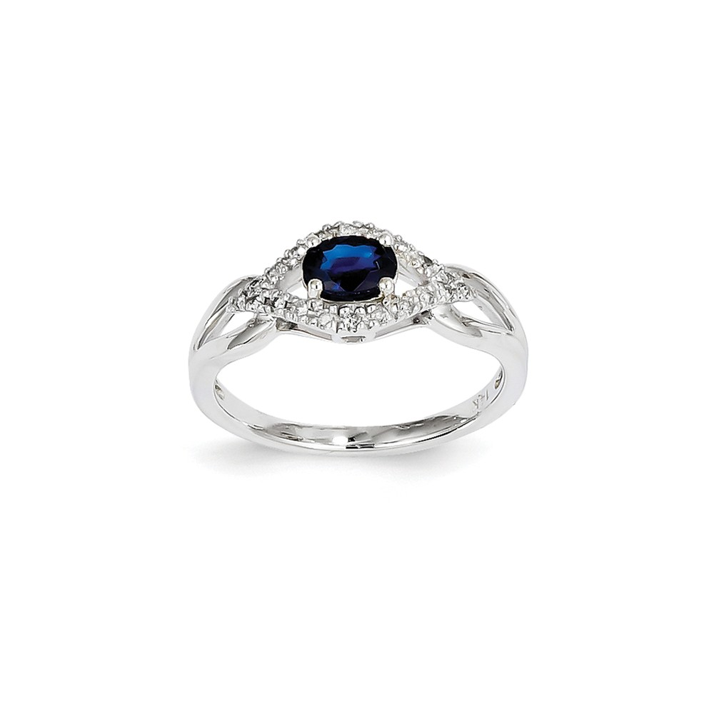 14K White Gold Diamond & Oval Sapphire Gem. Ring