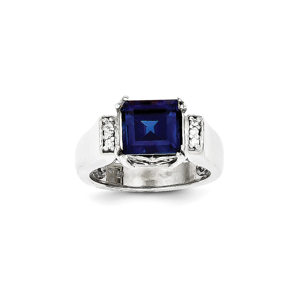 10k White Gold Diamond and Created Sapphire Ring. Carat Wt- 0.108ct