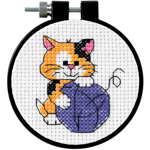 "Dimensions Learn-a-Craft Cute Kitty Counted Cross Stitch Kit, 3"" round"