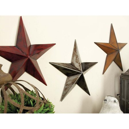 Decmode Metal Stars, Set of 3, Multi Color