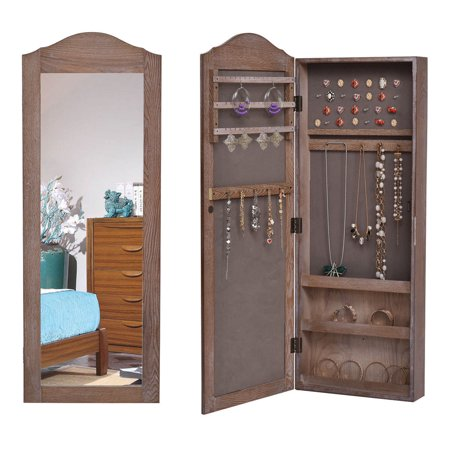 Gymax Mirrored Jewelry Cabinet Armoire Storage Organizer ...