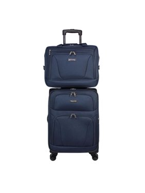 World Traveler WT100-2-BLACK 2 Piece Embarque Collection Super Lightweight Carry on Spinner Luggage Set - Black